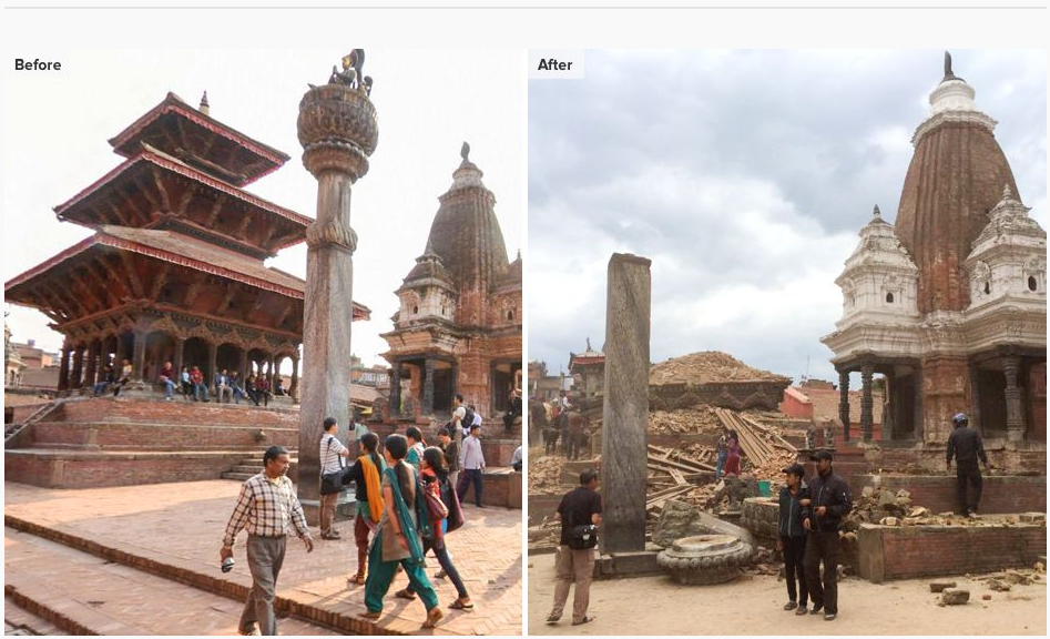 Before After Gempa Nepal